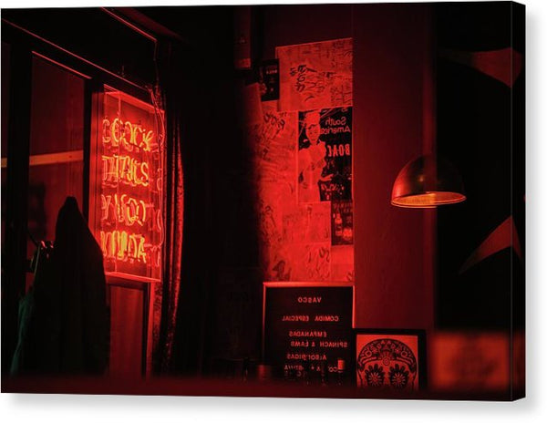 Neon Red Sign Inside Dark Bar - Canvas Print from Wallasso - The Wall Art Superstore