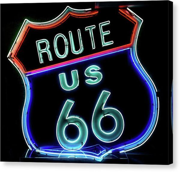 Neon Route 66 Sign - Canvas Print from Wallasso - The Wall Art Superstore