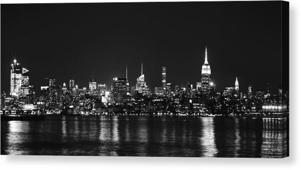 New York City Skyline Lights Reflected In Water At Night - Canvas Print from Wallasso - The Wall Art Superstore