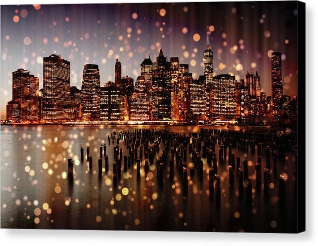New York City Skyline With Gold Sparkles - Canvas Print from Wallasso - The Wall Art Superstore