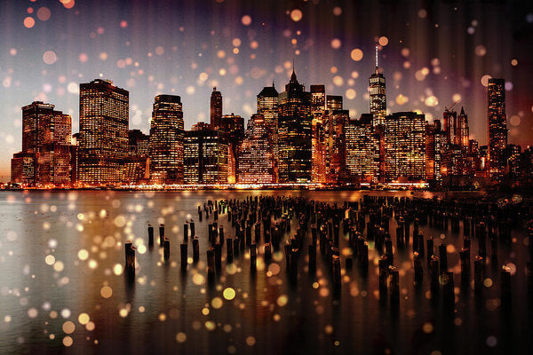 New York City Skyline With Gold Sparkles - Art Print from Wallasso - The Wall Art Superstore