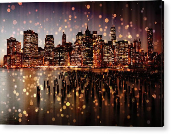 New York City Skyline With Gold Sparkles - Acrylic Print from Wallasso - The Wall Art Superstore