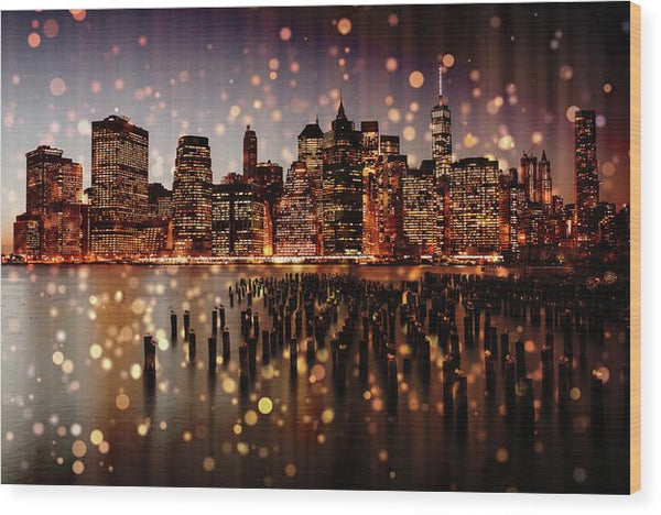 New York City Skyline With Gold Sparkles - Wood Print from Wallasso - The Wall Art Superstore