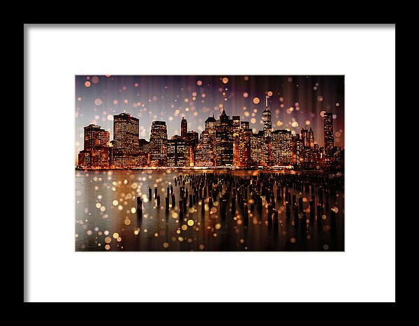 New York City Skyline With Gold Sparkles - Framed Print from Wallasso - The Wall Art Superstore