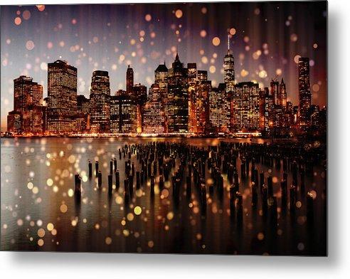 New York City Skyline With Gold Sparkles - Metal Print from Wallasso - The Wall Art Superstore