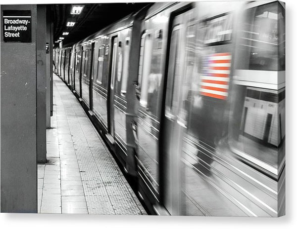 New York City Subway With American Flag - Canvas Print from Wallasso - The Wall Art Superstore