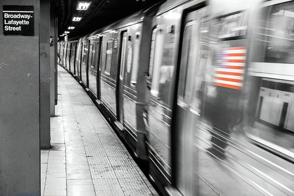 New York City Subway With American Flag - Art Print from Wallasso - The Wall Art Superstore
