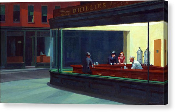 Nighthawks By Edward Hopper, 1942 - Canvas Print from Wallasso - The Wall Art Superstore