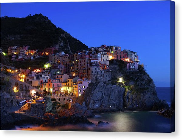 Nighttime In Seaside Italian Village, Cinque Terre - Canvas Print from Wallasso - The Wall Art Superstore