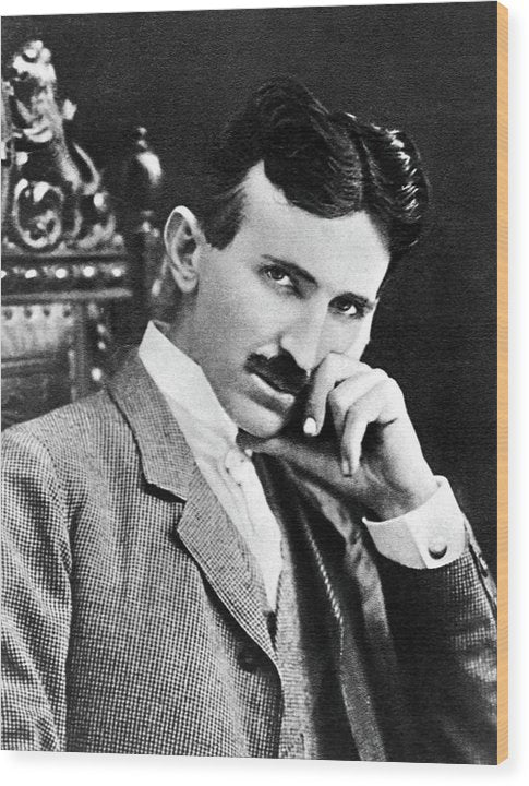 Nikola Tesla Portrait, 1896 - Wood Print from Wallasso - The Wall Art Superstore