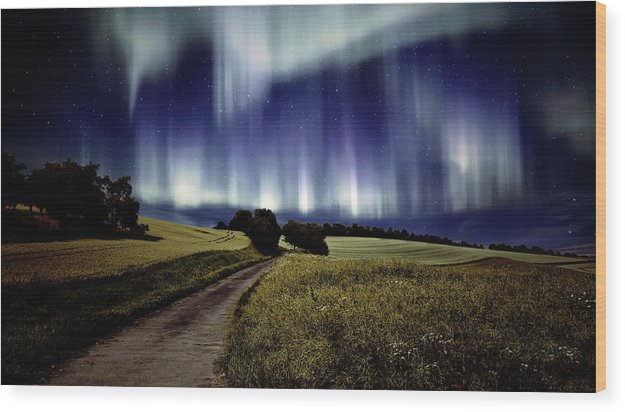 Northern Lights Over Meadow - Wood Print from Wallasso - The Wall Art Superstore
