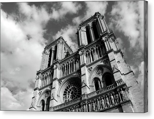 Notre Dame Cathedral In Paris, Black and White - Canvas Print from Wallasso - The Wall Art Superstore