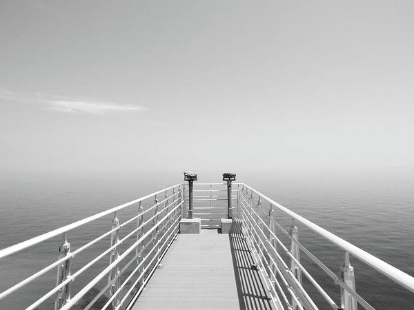 Ocean Binoculars At End of Pier, Black and White - Art Print from Wallasso - The Wall Art Superstore