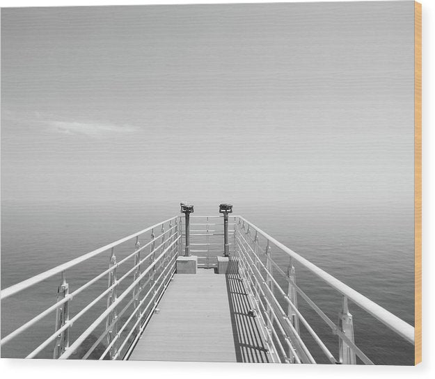 Ocean Binoculars At End of Pier, Black and White - Wood Print from Wallasso - The Wall Art Superstore
