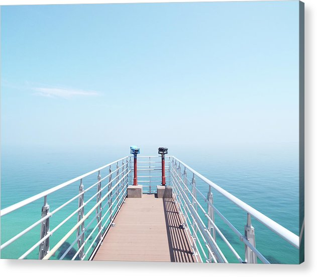 Ocean Binoculars At End of Pier - Acrylic Print from Wallasso - The Wall Art Superstore