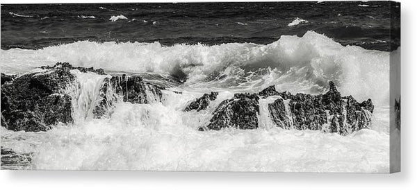 Ocean Waves Crashing On Rocks Panorama - Canvas Print from Wallasso - The Wall Art Superstore