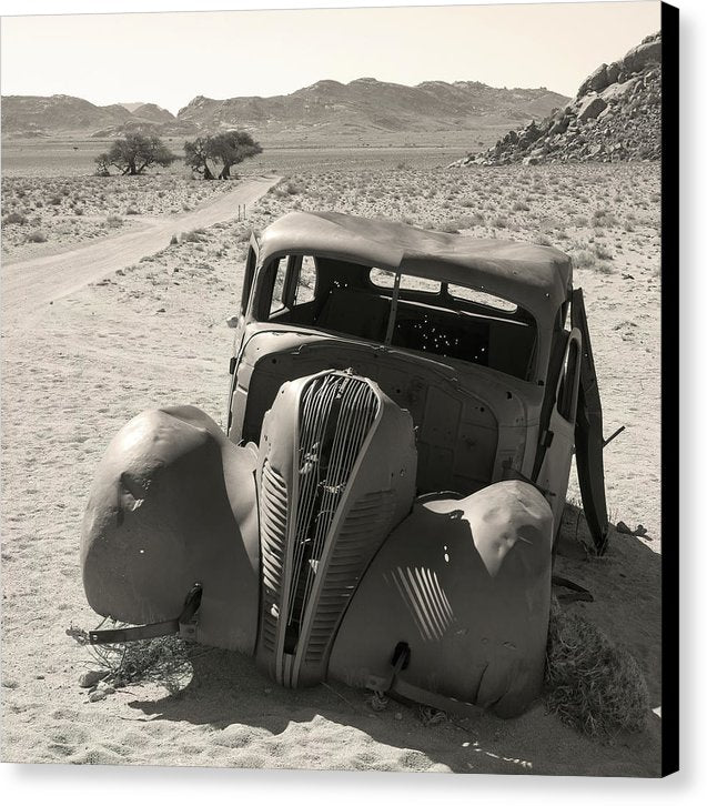 Old Car Abandoned In Desert - Canvas Print from Wallasso - The Wall Art Superstore
