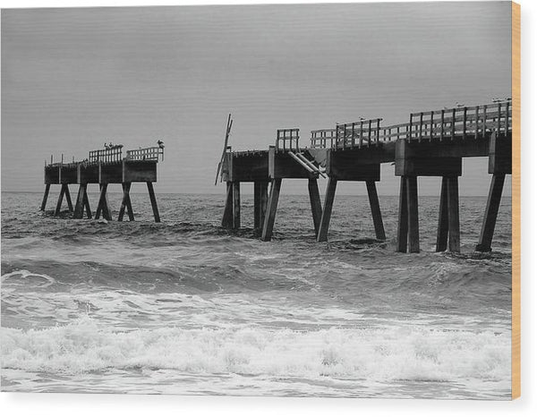 Old Pier Collapsing Into The Sea - Wood Print from Wallasso - The Wall Art Superstore