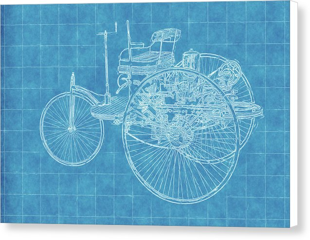 Old Timey Car Blueprint - Canvas Print from Wallasso - The Wall Art Superstore