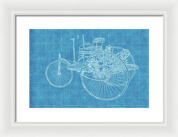Old Timey Car Blueprint - Framed Print from Wallasso - The Wall Art Superstore