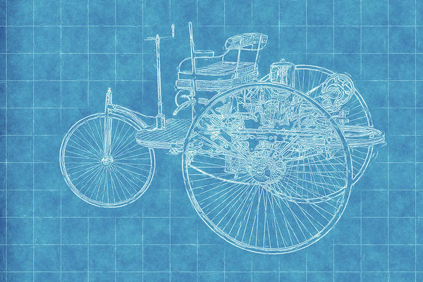 Old Timey Car Blueprint - Art Print from Wallasso - The Wall Art Superstore