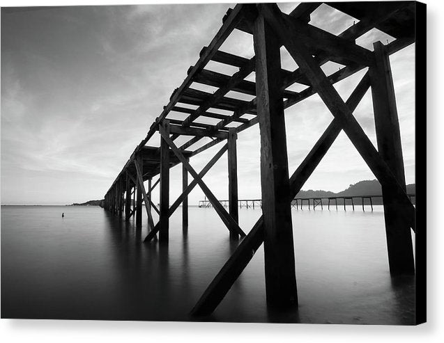 Old Wooden Pier In Disrepair - Canvas Print from Wallasso - The Wall Art Superstore