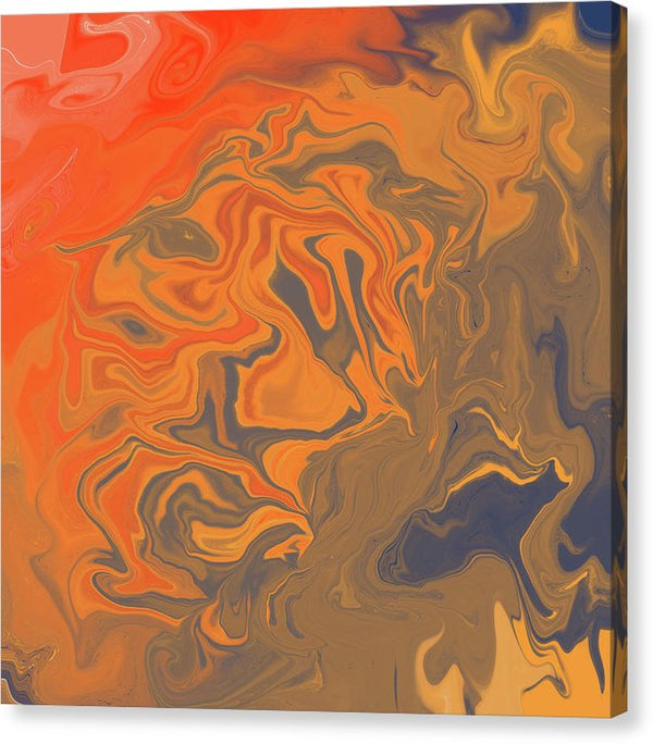 Orange Abstract Acrylic Pour by Jessica Contreras - Canvas Print from Wallasso - The Wall Art Superstore