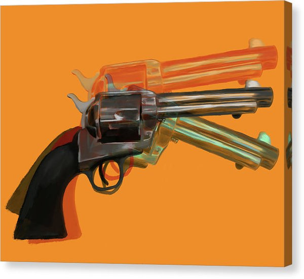 Orange Pop Art Colt 45 Revolver by Jessica Contreras - Canvas Print from Wallasso - The Wall Art Superstore