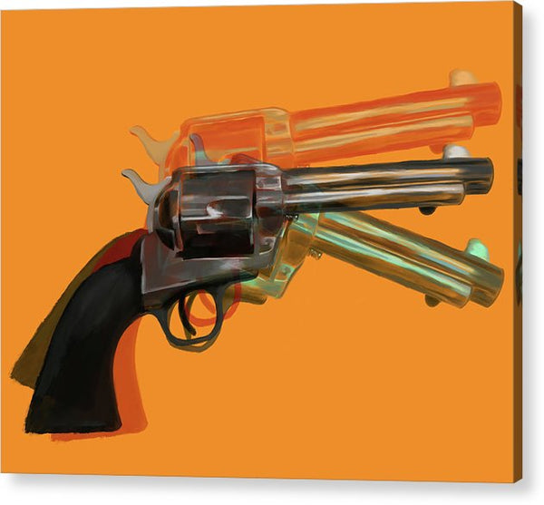 Orange Pop Art Colt 45 Revolver by Jessica Contreras - Acrylic Print from Wallasso - The Wall Art Superstore