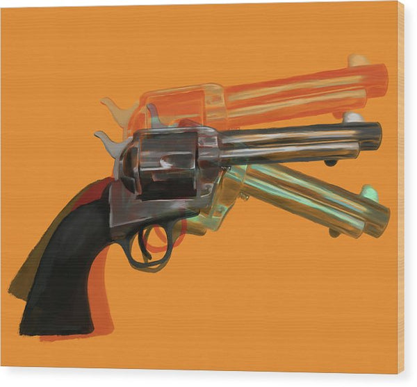 Orange Pop Art Colt 45 Revolver by Jessica Contreras - Wood Print from Wallasso - The Wall Art Superstore