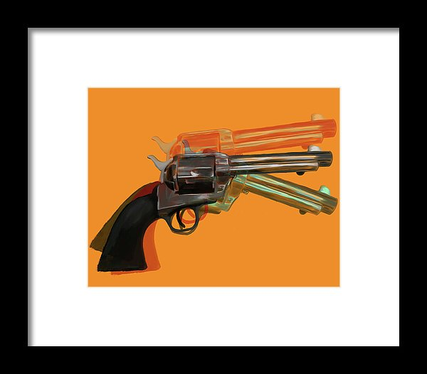 Orange Pop Art Colt 45 Revolver by Jessica Contreras - Framed Print from Wallasso - The Wall Art Superstore