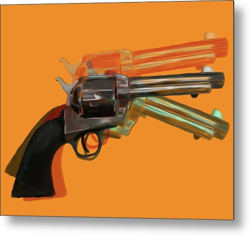 Orange Pop Art Colt 45 Revolver by Jessica Contreras - Metal Print from Wallasso - The Wall Art Superstore