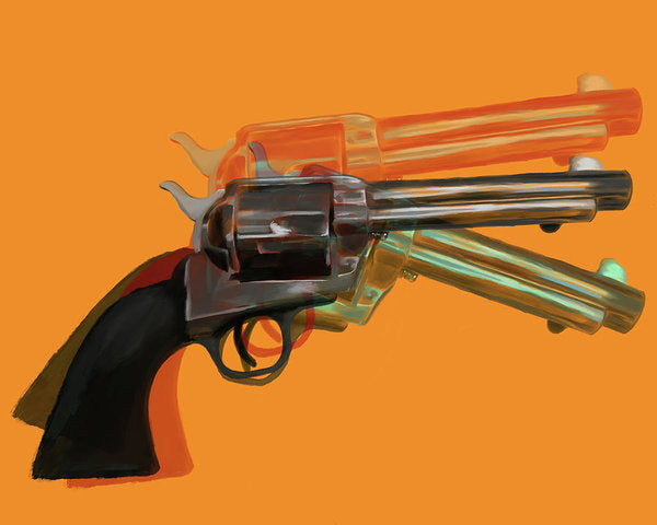 Orange Pop Art Colt 45 Revolver by Jessica Contreras - Art Print from Wallasso - The Wall Art Superstore