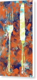 Orange Watercolor Painting of Fork and Knife Utensils - Canvas Print from Wallasso - The Wall Art Superstore
