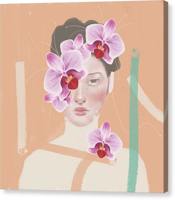 Orchid Girl Modern Painting - Canvas Print from Wallasso - The Wall Art Superstore
