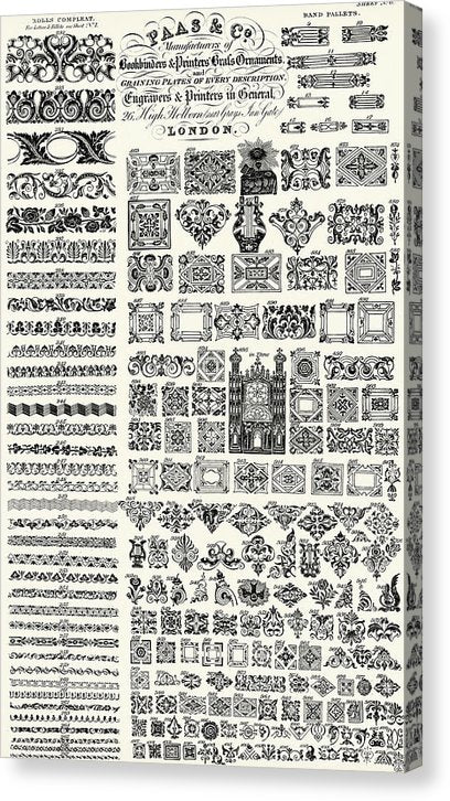 Ornate Bookbinders and Printers Designs - Canvas Print from Wallasso - The Wall Art Superstore