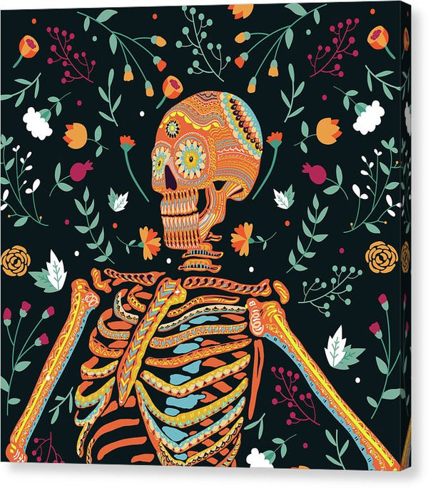 Ornate Day Of The Dead Skeleton - Canvas Print from Wallasso - The Wall Art Superstore