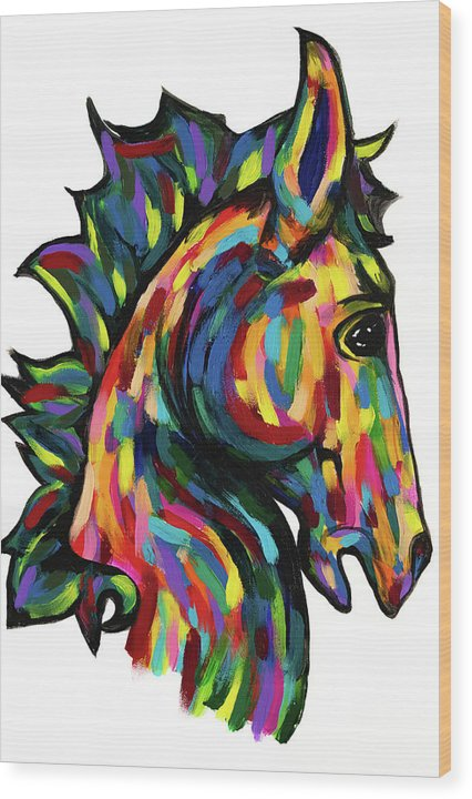 Painted Pony by Jessica Contreras - Wood Print from Wallasso - The Wall Art Superstore