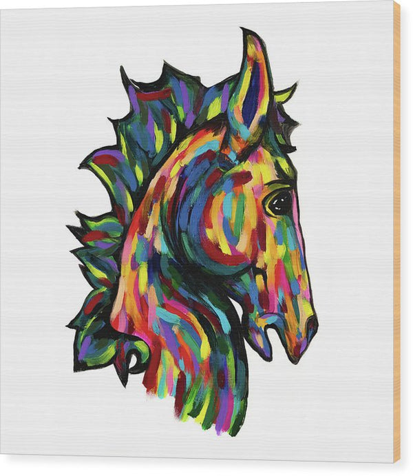 Painted Pony (Square) by Jessica Contreras - Wood Print from Wallasso - The Wall Art Superstore