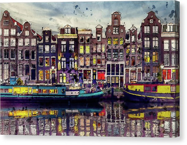 Painting of Amsterdam Houses On Canal With Boats - Canvas Print from Wallasso - The Wall Art Superstore