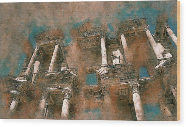 Painting of Ancient Ruins and Columns - Wood Print from Wallasso - The Wall Art Superstore