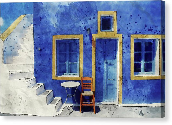 Painting of Blue Wall In European Village - Canvas Print from Wallasso - The Wall Art Superstore