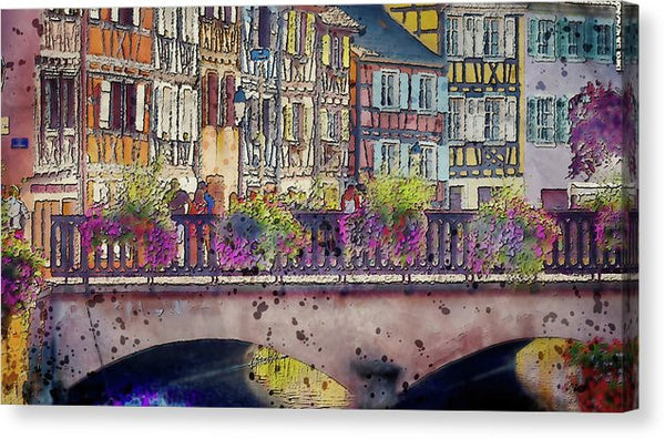 Painting of Canal Bridge Railing With Flowers - Canvas Print from Wallasso - The Wall Art Superstore