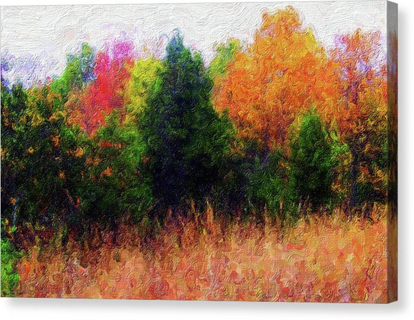 Painting of Colorful Tree Line - Canvas Print from Wallasso - The Wall Art Superstore