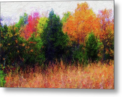 Painting of Colorful Tree Line - Metal Print from Wallasso - The Wall Art Superstore