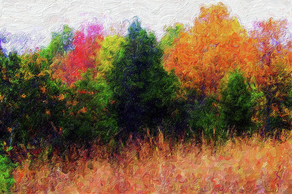 Painting of Colorful Tree Line - Art Print from Wallasso - The Wall Art Superstore