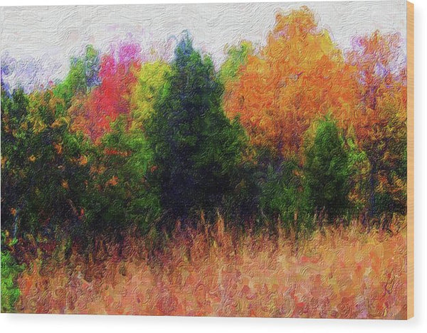 Painting of Colorful Tree Line - Wood Print from Wallasso - The Wall Art Superstore