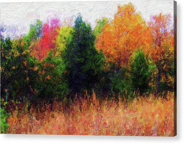 Painting of Colorful Tree Line - Acrylic Print from Wallasso - The Wall Art Superstore