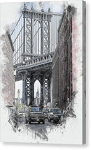 Painting of Manhattan Bridge As Seen Through Buildings, New York City - Canvas Print from Wallasso - The Wall Art Superstore