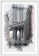Painting of Manhattan Bridge As Seen Through Buildings, New York City - Framed Print from Wallasso - The Wall Art Superstore